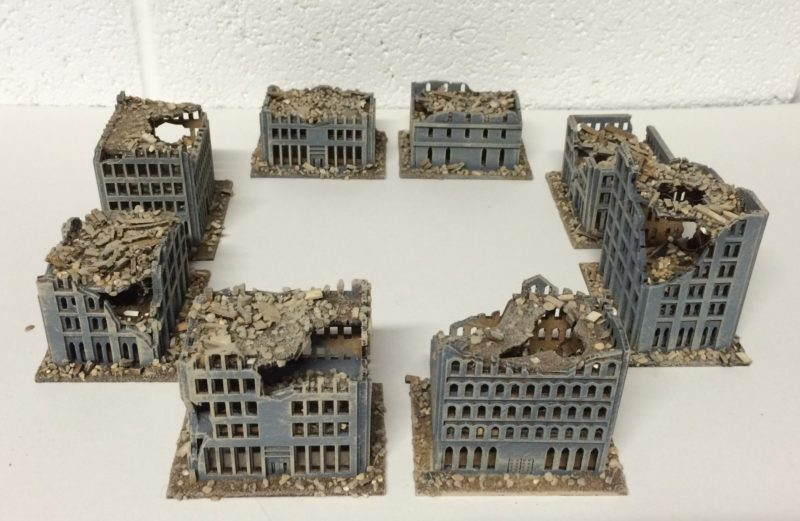 6mm Ruined city block Set A (8 kits)