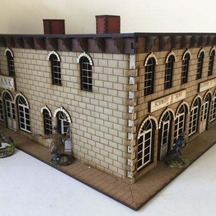 28mm Old West Town block with Bank and Shops